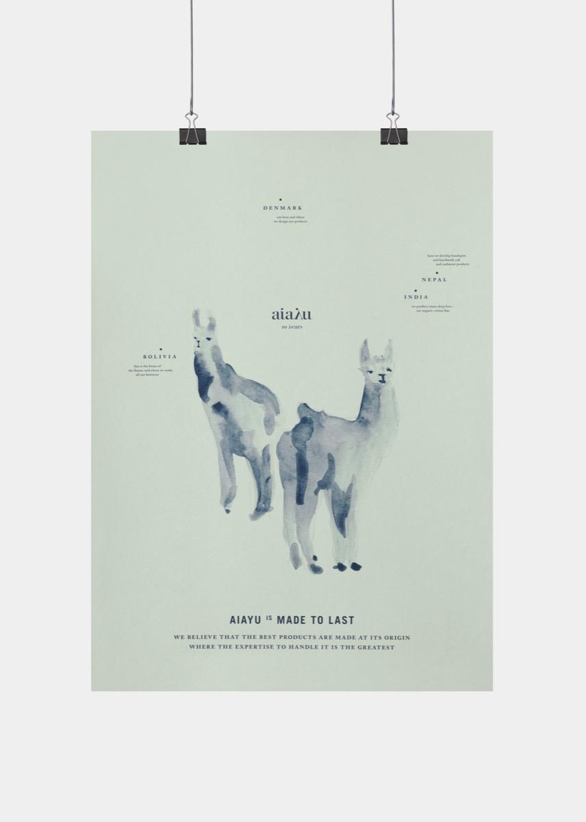 Llama Watercolour Poster Thumbnail