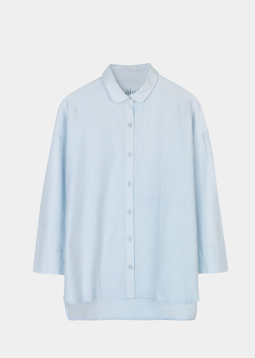 Shirts - Round Collar Flannel Shirt Thumbnail